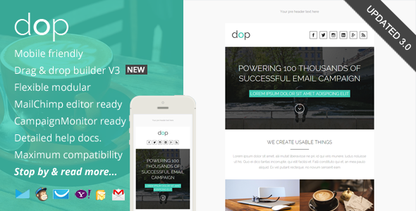 Dop, Modern Email Template + Online Editor Access - Email Templates Marketing