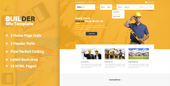Builder – Construction and Builder HTML Template
