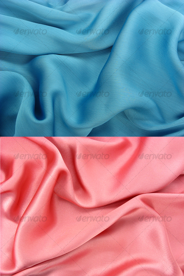 Wrinkled shiny blue fabric - Fabric Textures