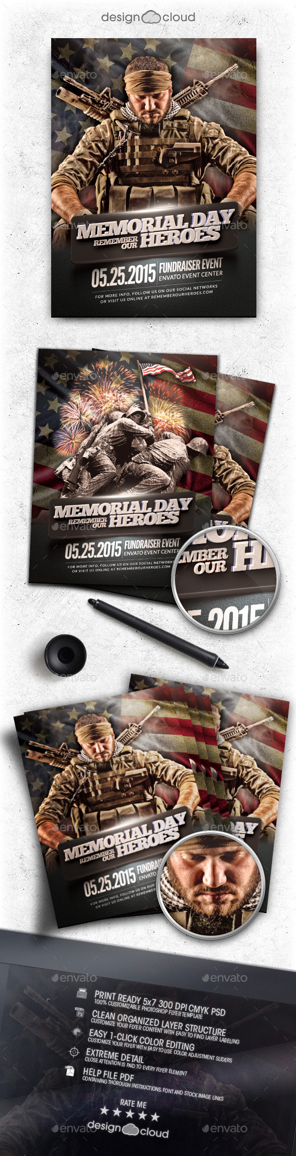 Memorial Day Remember Event Flyer Template - Holidays Events