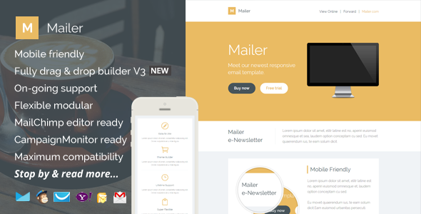 Mailer, Responsive Email Template + Builder Access - Newsletters Email Templates