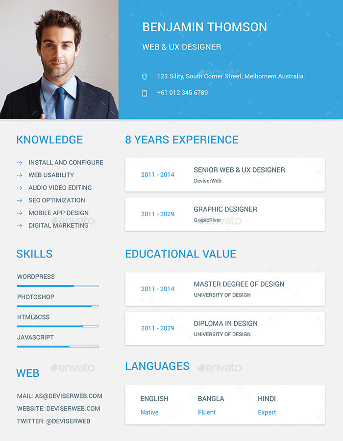 material design resume  cv set by ali sayed