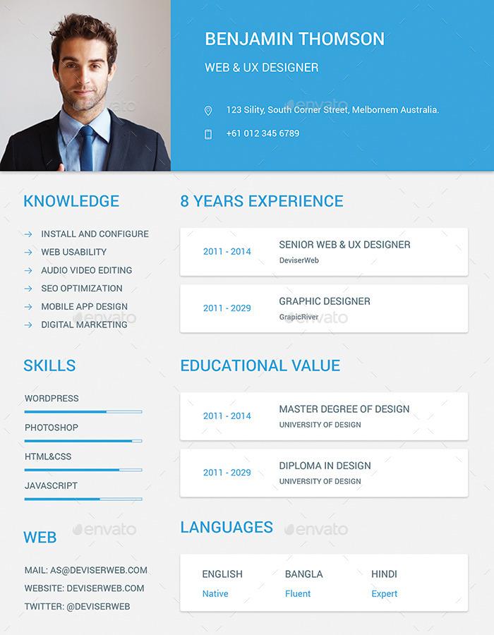 material design resume  cv set by ali sayed