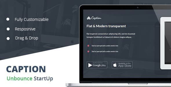 Caption Flat Startup Landing Page - Unbounce Landing Pages Marketing