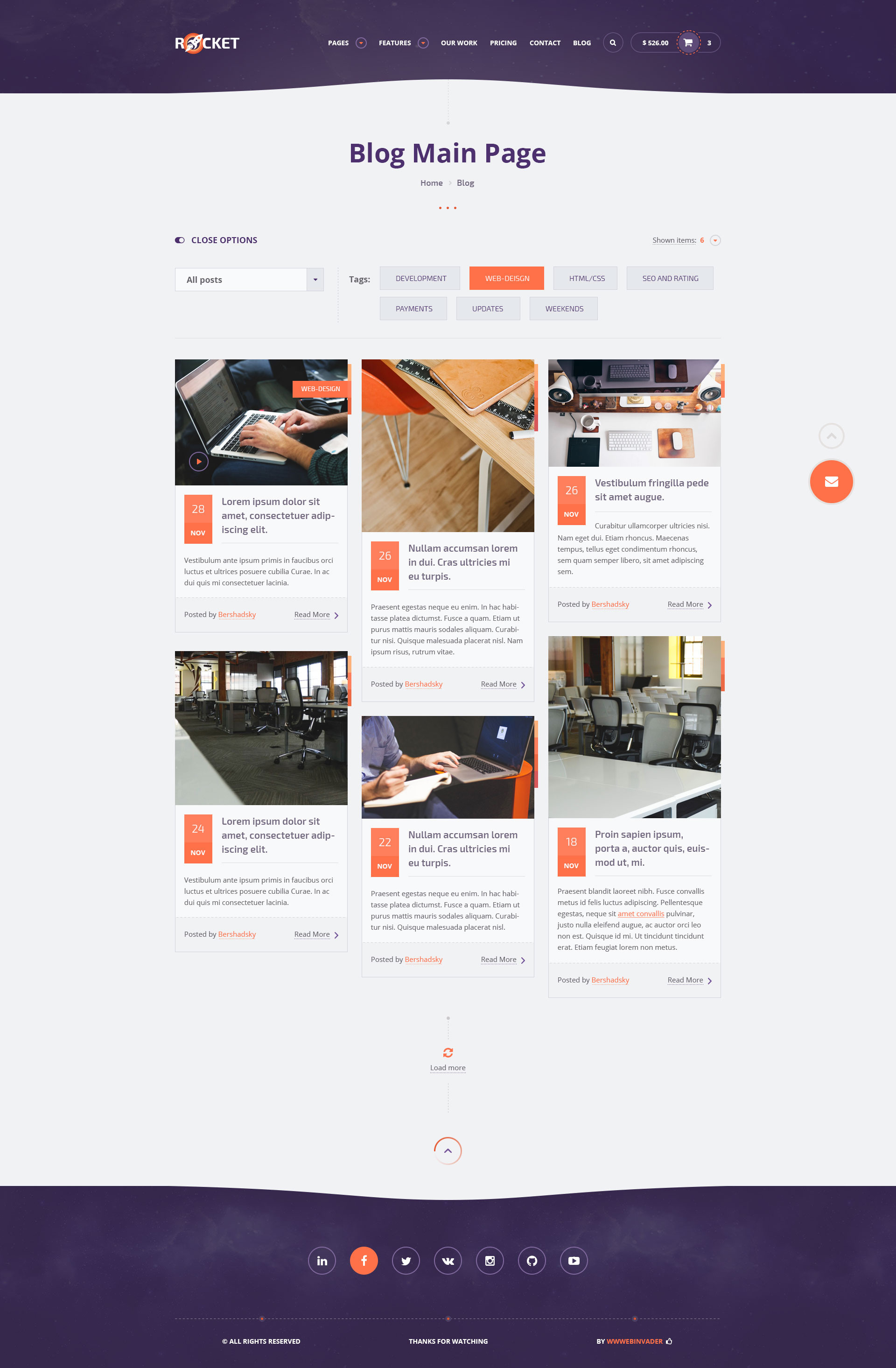 Blog Page 3  >> Rocket Creative Multipurpose Psd Template By Wwwebinvader