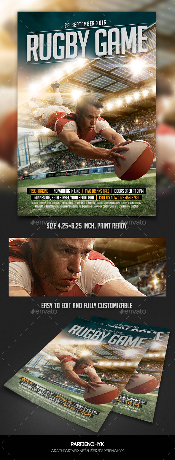 Rugby Game Sport Flyer Template - Sports Events