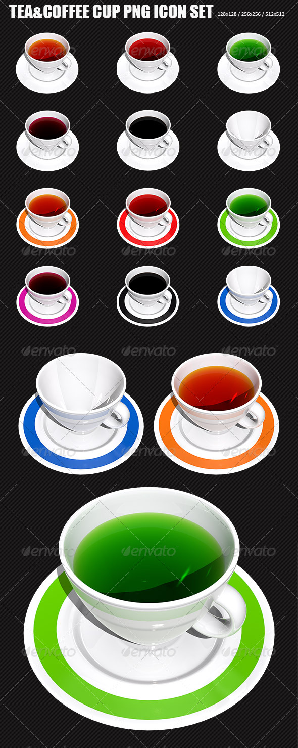 Tea and Coffee Cup PNG Icon Set - Food Objects