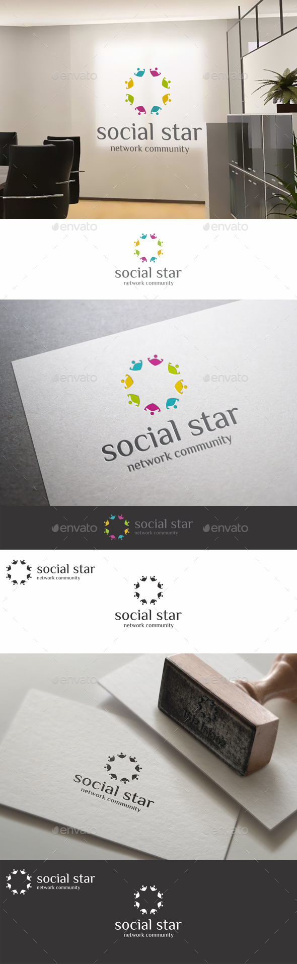 Social Star Teamwork Community Logo