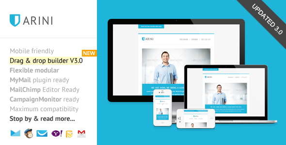 Arini, Responsive Newsletter with Template Builder - Newsletters Email Templates