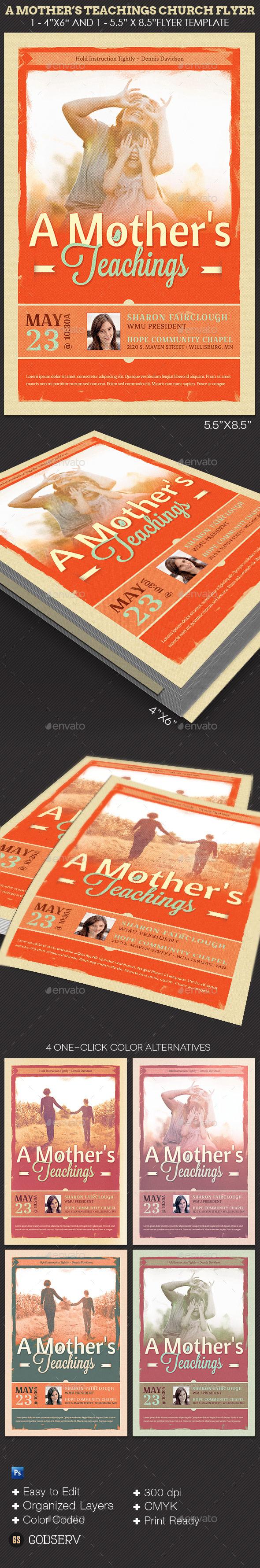Mothers Teachings Church Flyer Template - Church Flyers