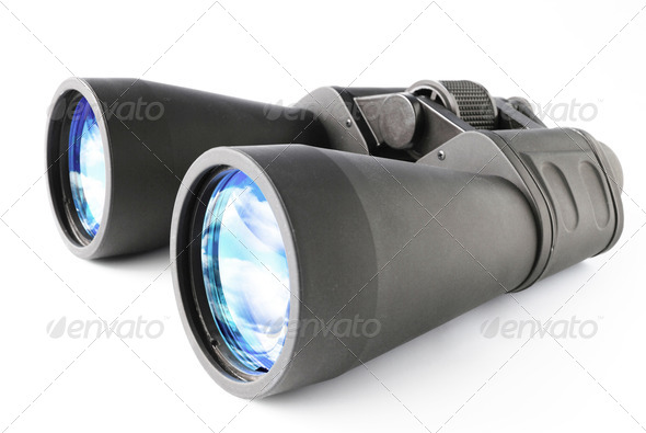 Black Binocular isolated on white background, clipping path. - Stock Photo - Images