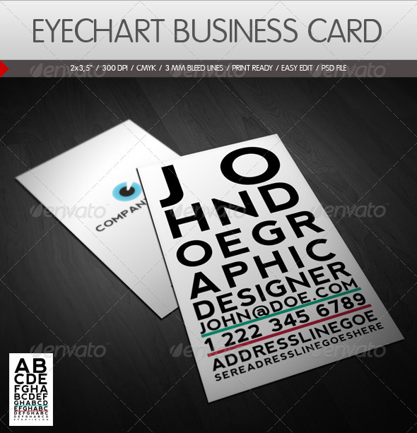 Eyechart Business Card - Creative Business Cards