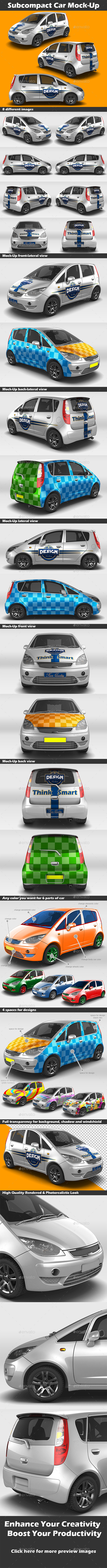 Subcompact Car Mock-Up - Vehicle Wraps Print