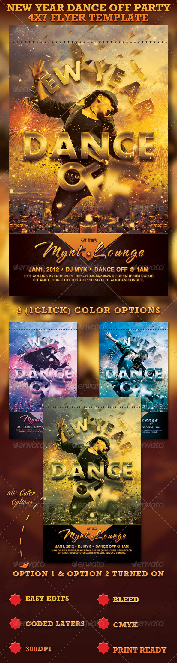 New Year Dance Off Flyer Template  - Clubs & Parties Events