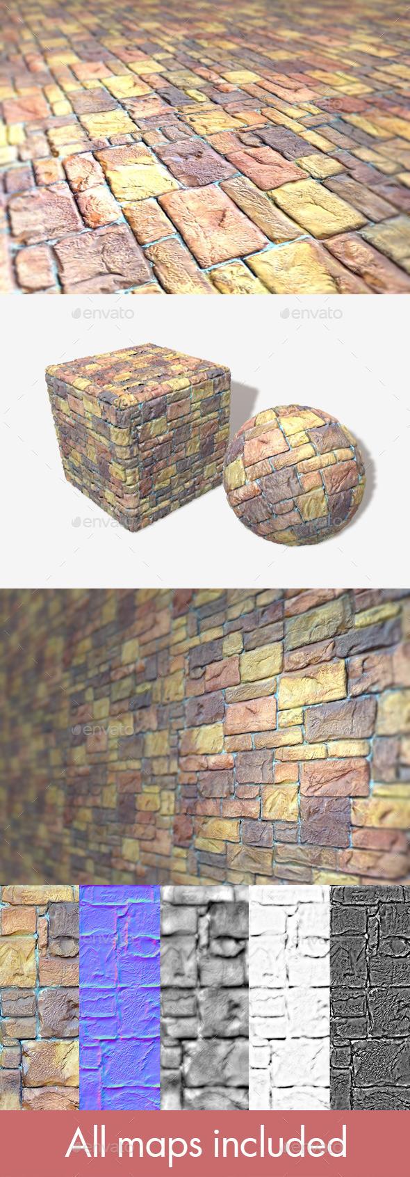 Painted Random Bricks Seamless Texture - 3DOcean Item for Sale