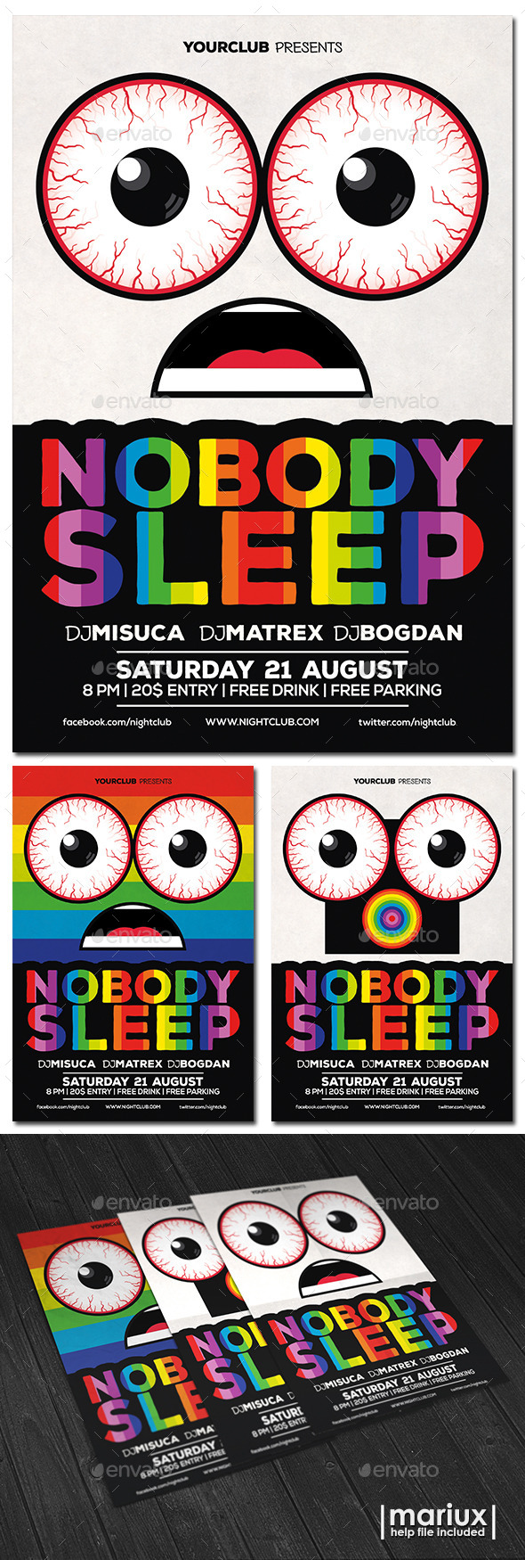 Nobody Sleep Party Flyer - Clubs & Parties Events