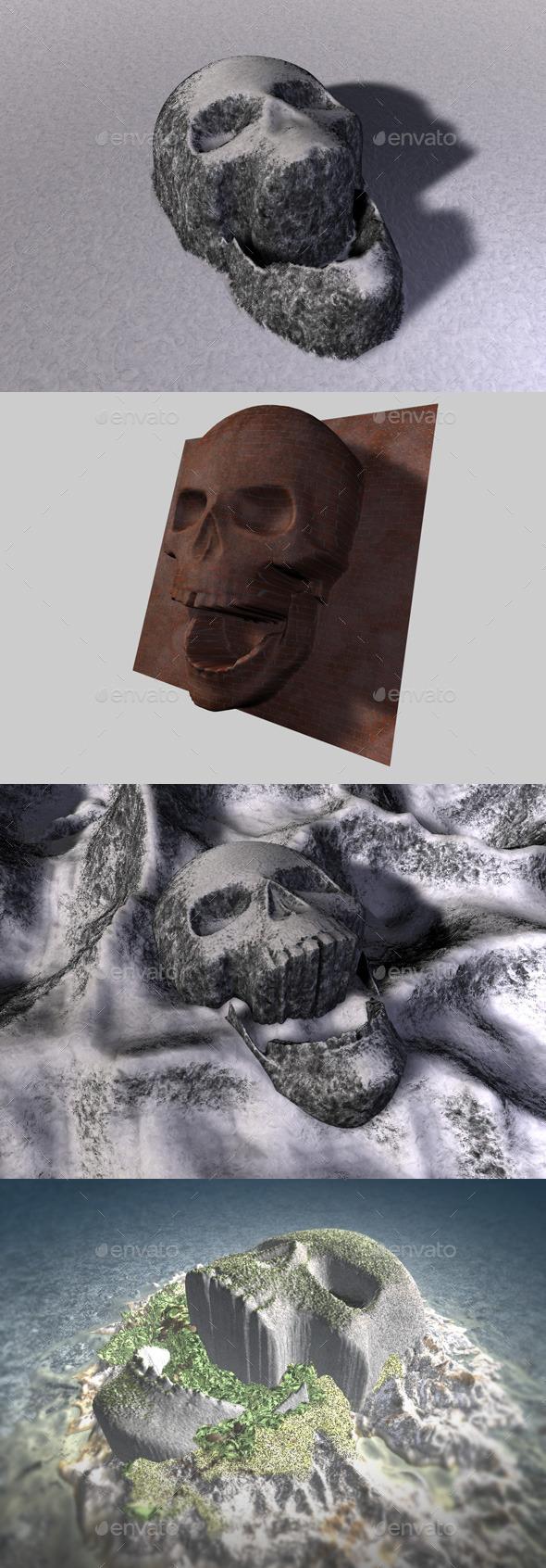 Skull Depth Map 2 - 3DOcean Item for Sale