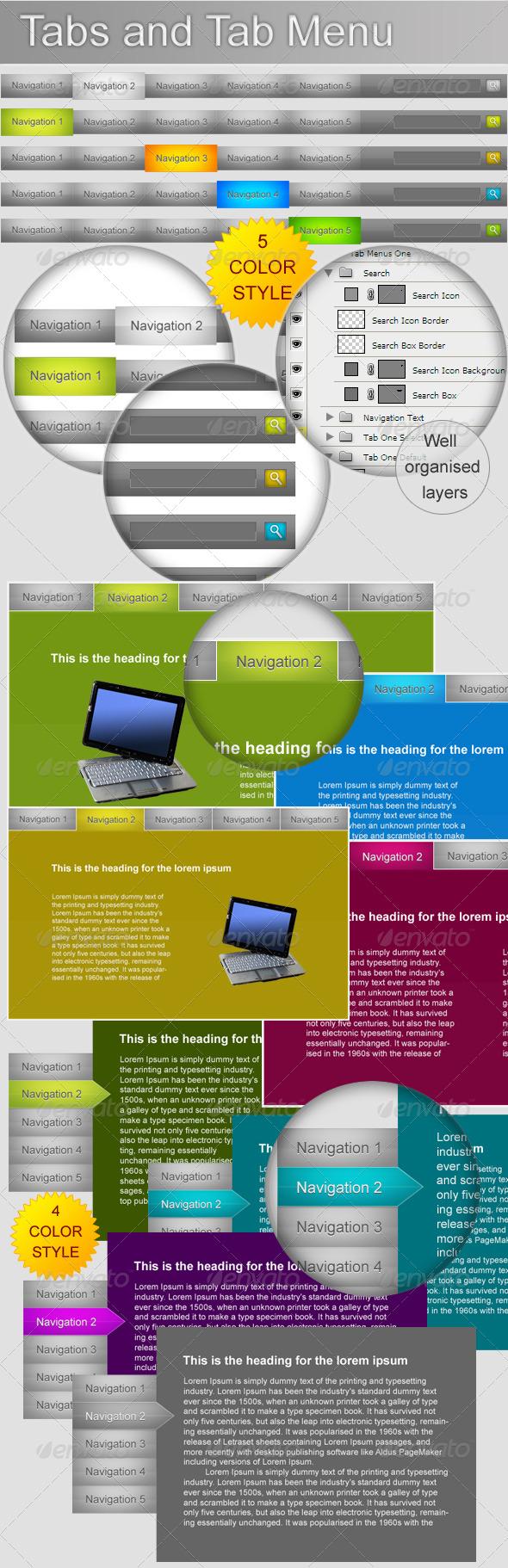Tabs - Horizontal & Vertical and Tab Menu - Web Elements