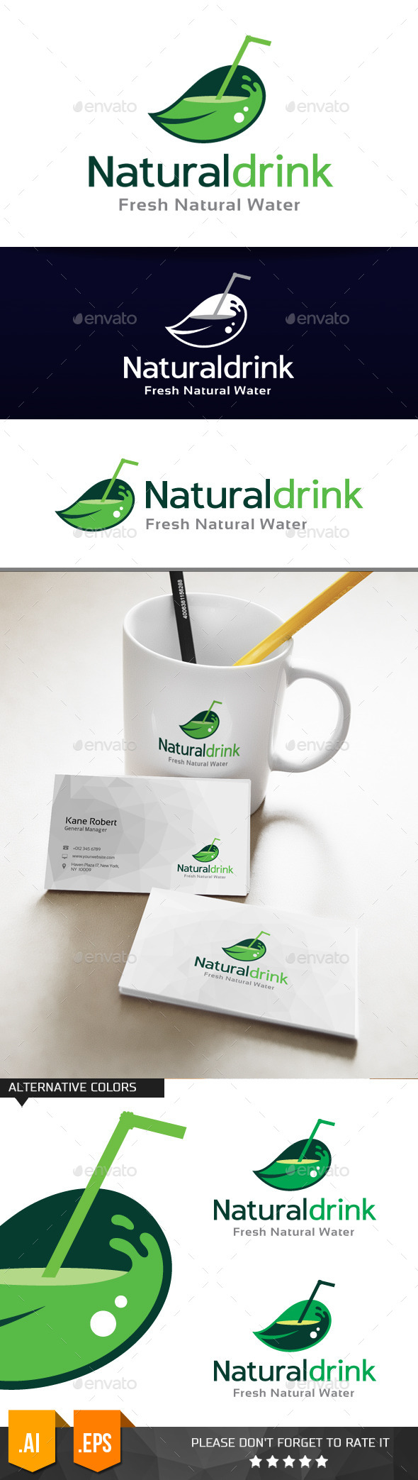 Natural Drink Logo Template - Nature Logo Templates
