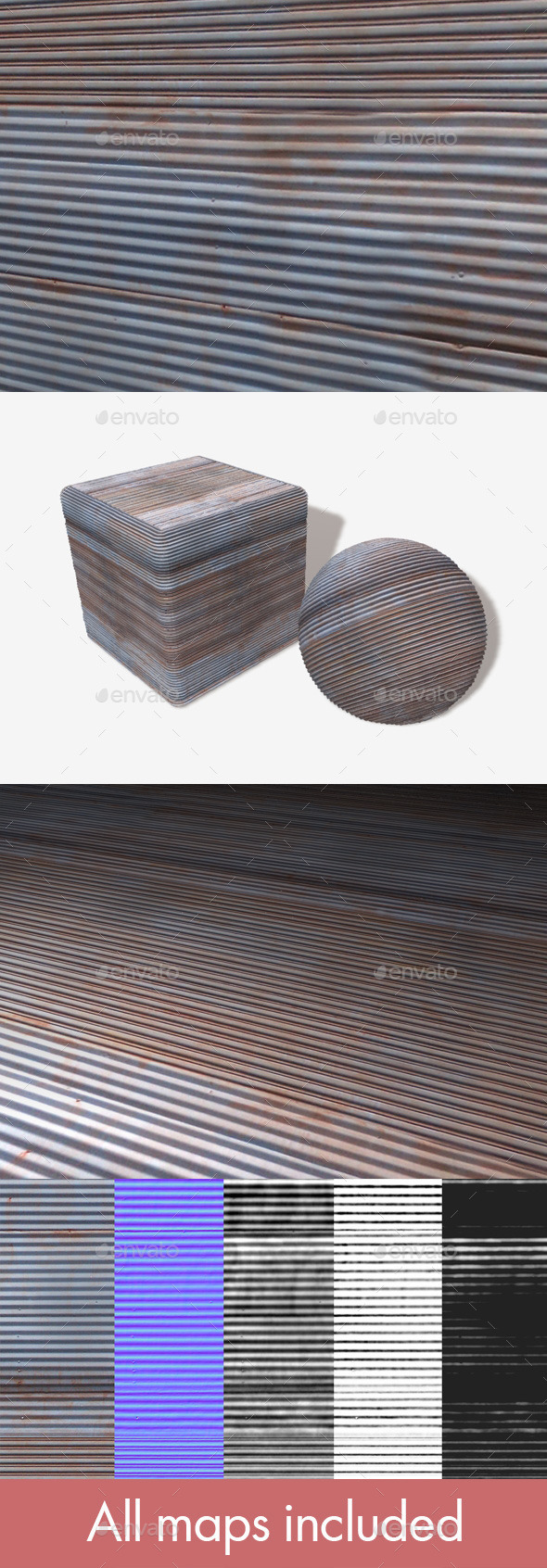Corrugated Iron Seamless Texture - 3DOcean Item for Sale