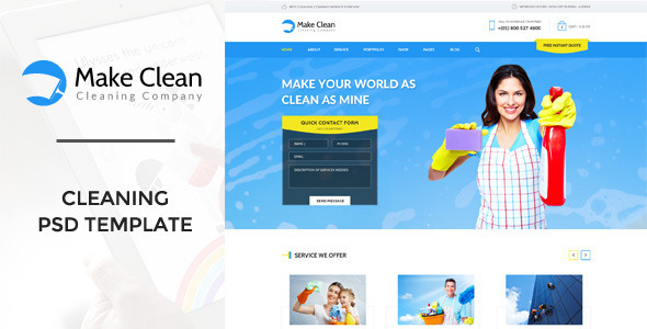 Make Clean - Cleaning Company PSD Template - Business Corporate