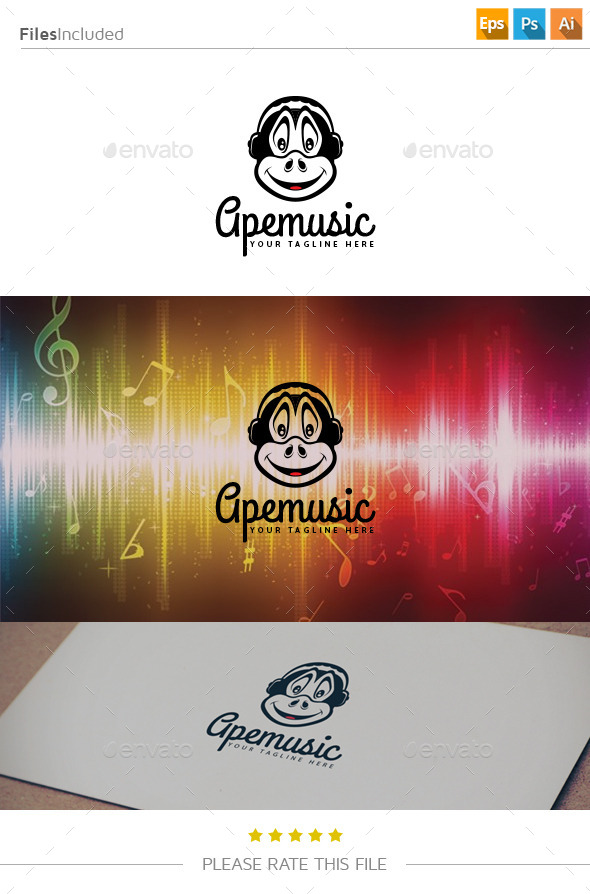 Monkey Music Logo - Animals Logo Templates
