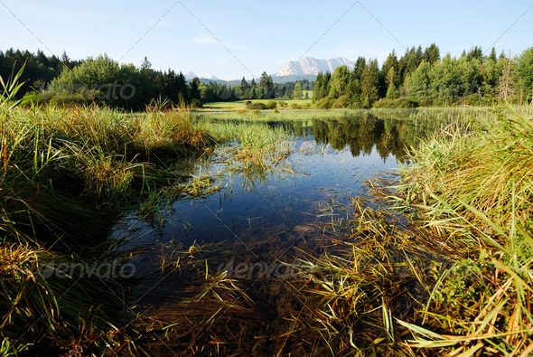 Lake in the alps - Stock Photo - Images