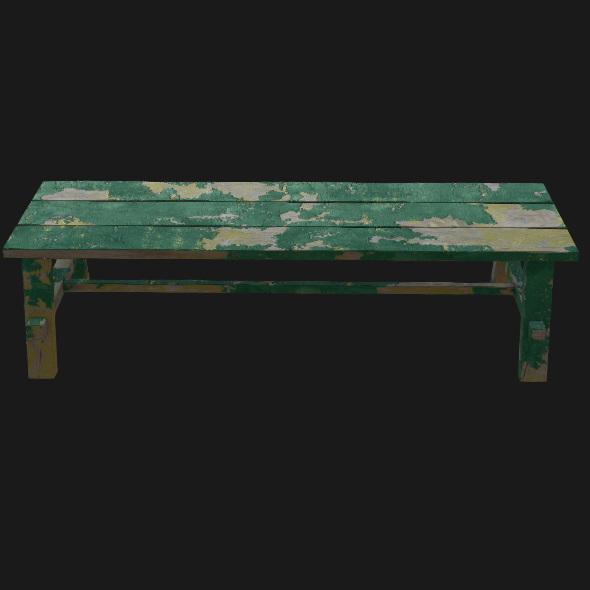 Old Painted Bench - 3DOcean Item for Sale