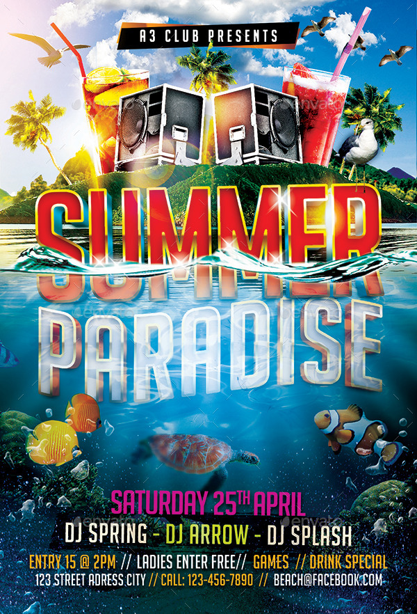 Summer Paradise Flyer Template By Arrow  Graphicriver