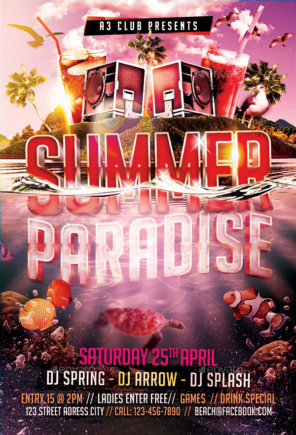 summer paradise flyer template by arrow3000