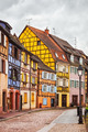 Colmar, Petit Venice, street, lamp and traditional houses. Alsac
