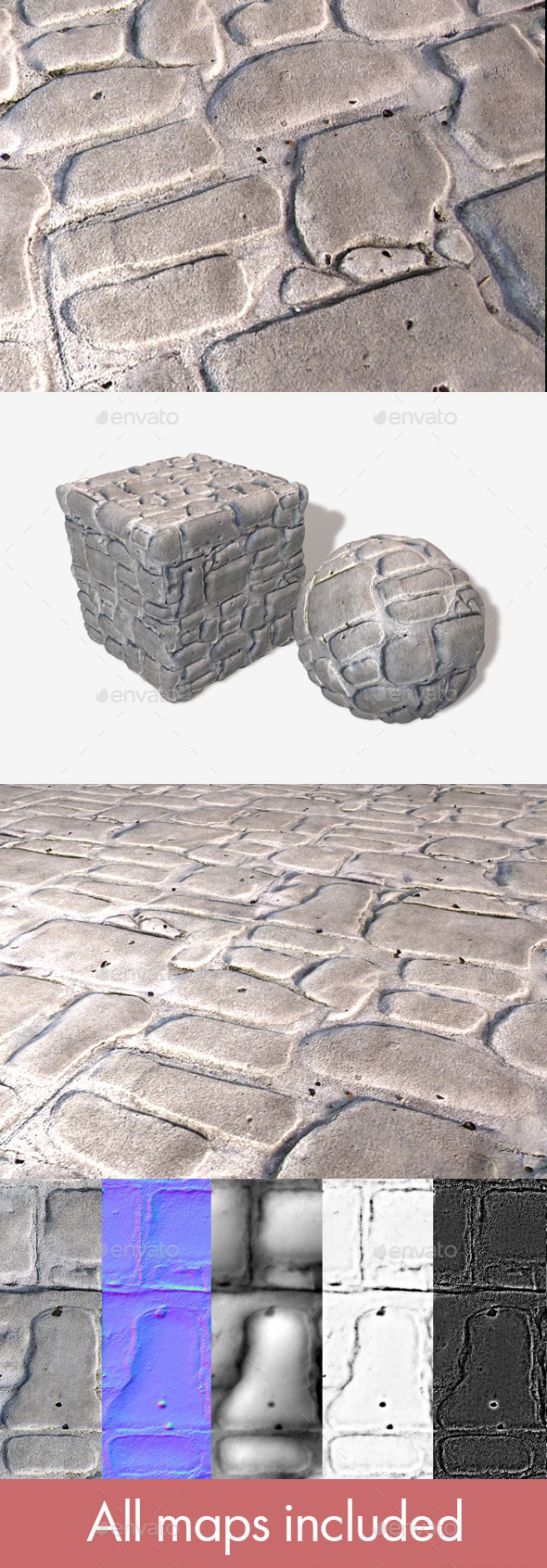 Cobblestone Bricks Seamless Texture - 3DOcean Item for Sale