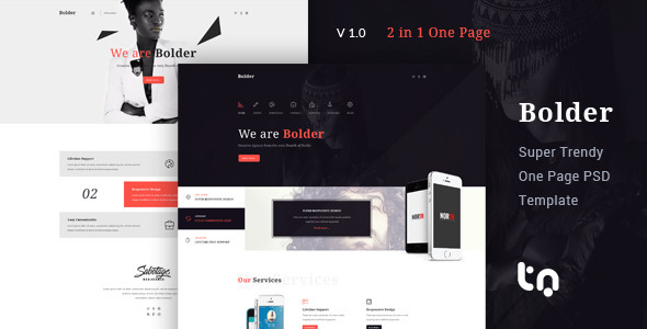 Bolder – Trendy One Page PSD Template