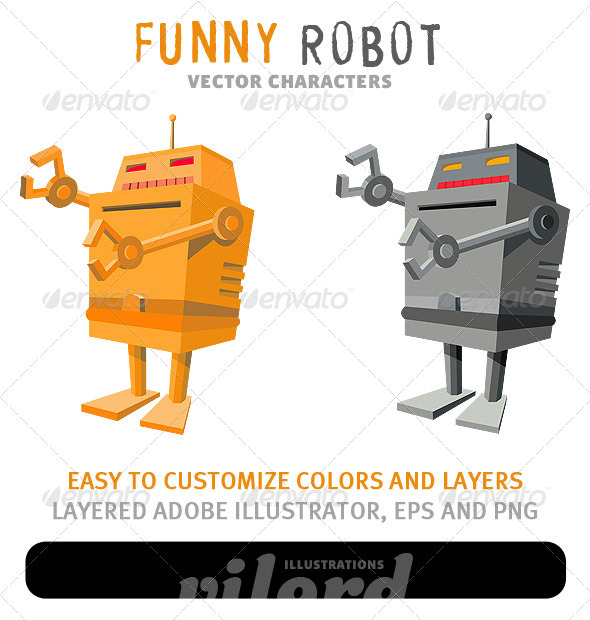 Funny Robot Mascot - Man-made Objects Objects