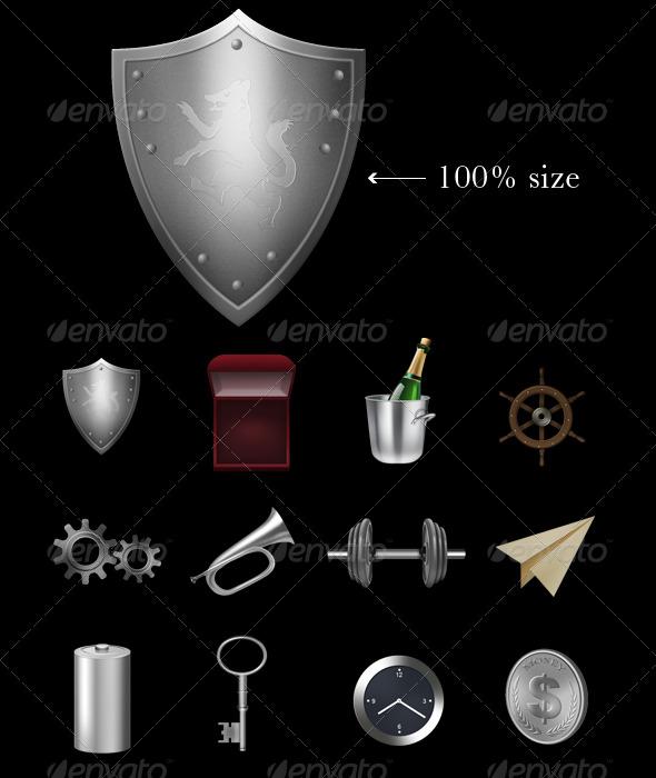 Metallic Icons - Abstract Icons