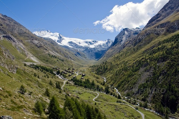 Beautiful Taesch valley in the swiss alps - Stock Photo - Images