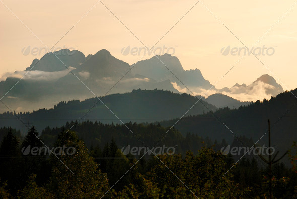 Sunset in Karwendel mountains - Stock Photo - Images
