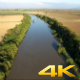 Aerial View Flying Over River and Plain Fields 1 - VideoHive Item for Sale