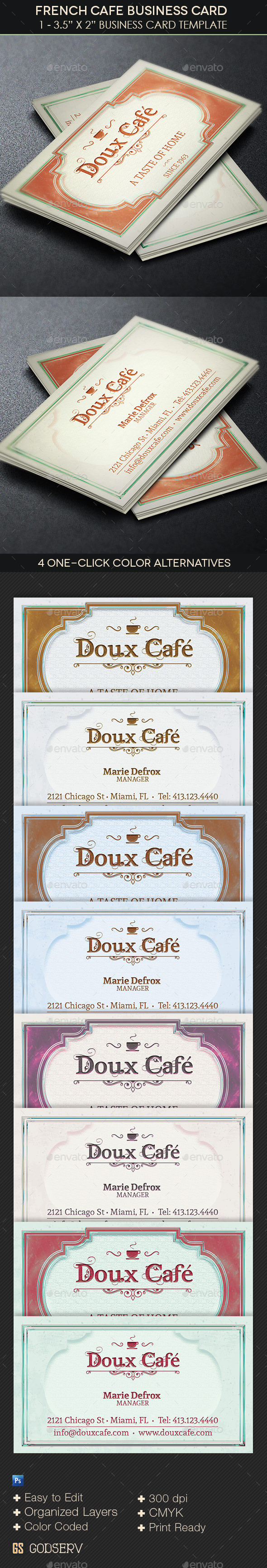 French Cafe Business Card Template by Godserv   GraphicRiver