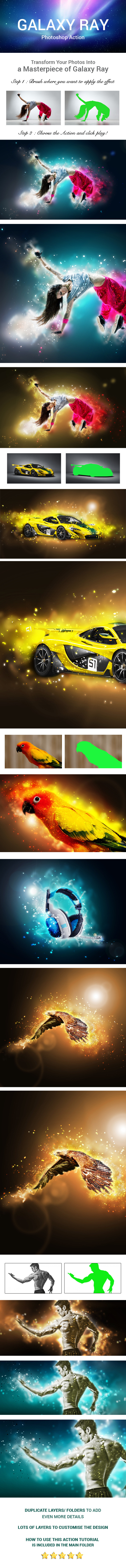 Galaxy Ray Photoshop Action - Photo Effects Actions