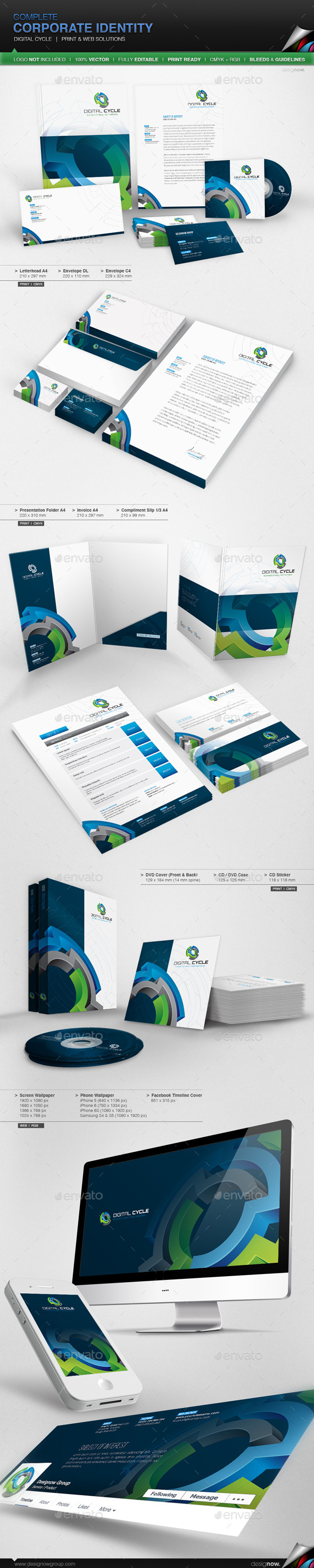 Corporate Identity - Digital Cycle - Stationery Print Templates