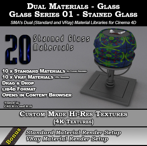 SMA's Dual Materials - Glass - S01 - Stained Glass - 3DOcean Item for Sale