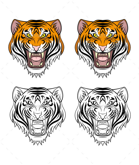 Angry Tiger Head  - Animals Characters