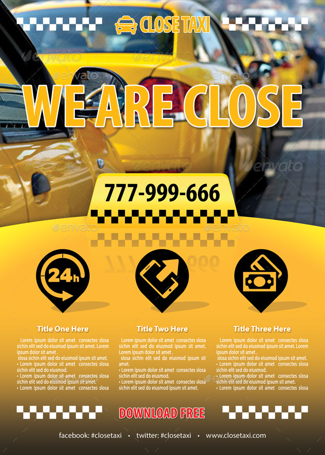 taxi cab service flyer template 84 by 21min
