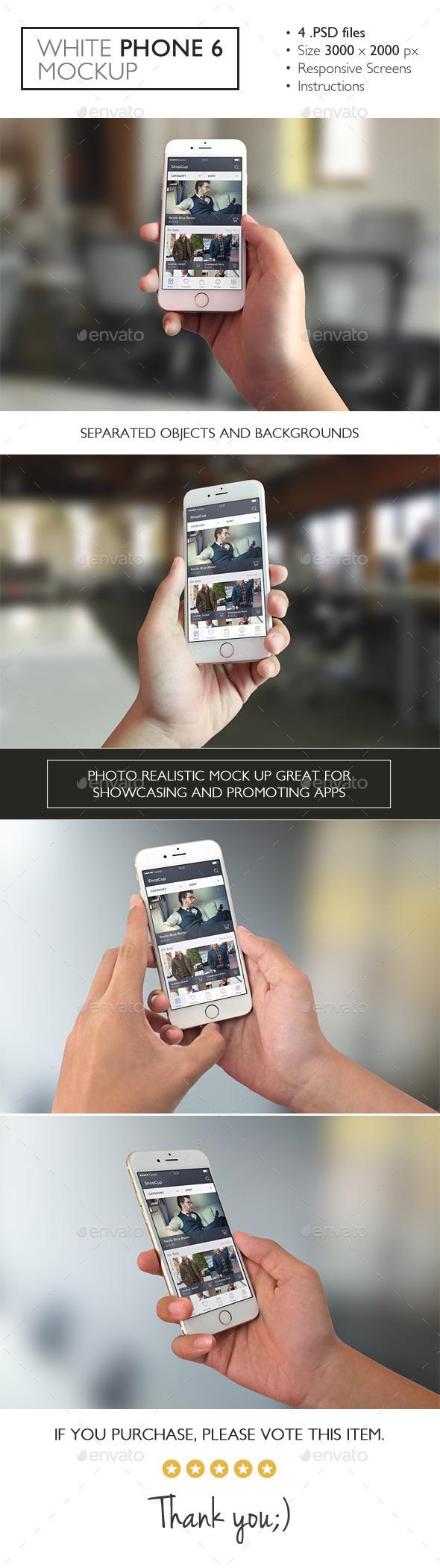 White Phone 6 Mockup