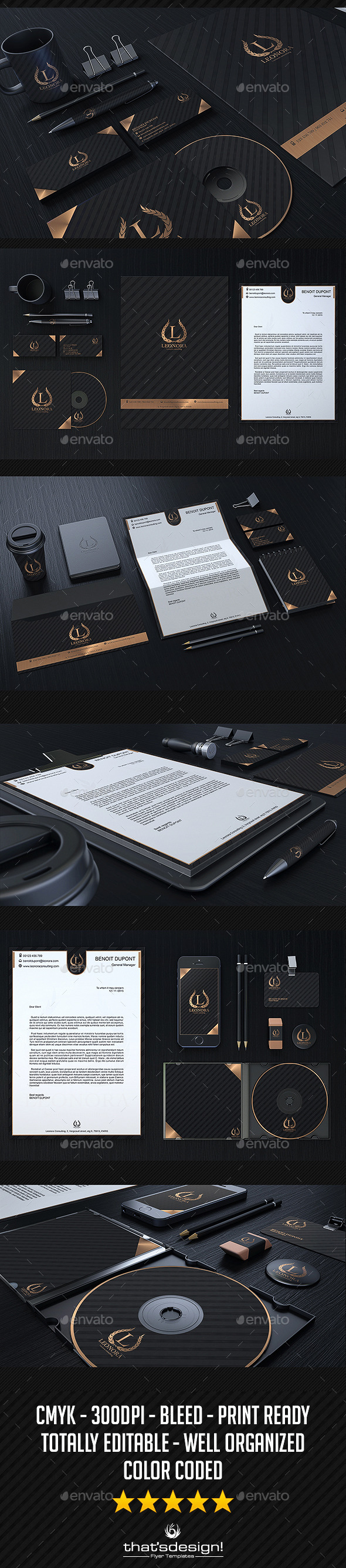 Black and Classy Corporate Identity - Stationery Print Templates