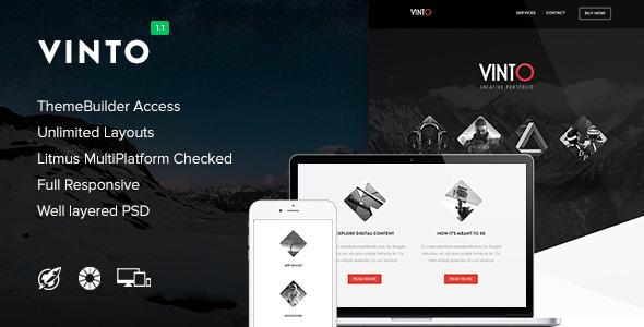 Vinto – Responsive Email + Themebuilder Access