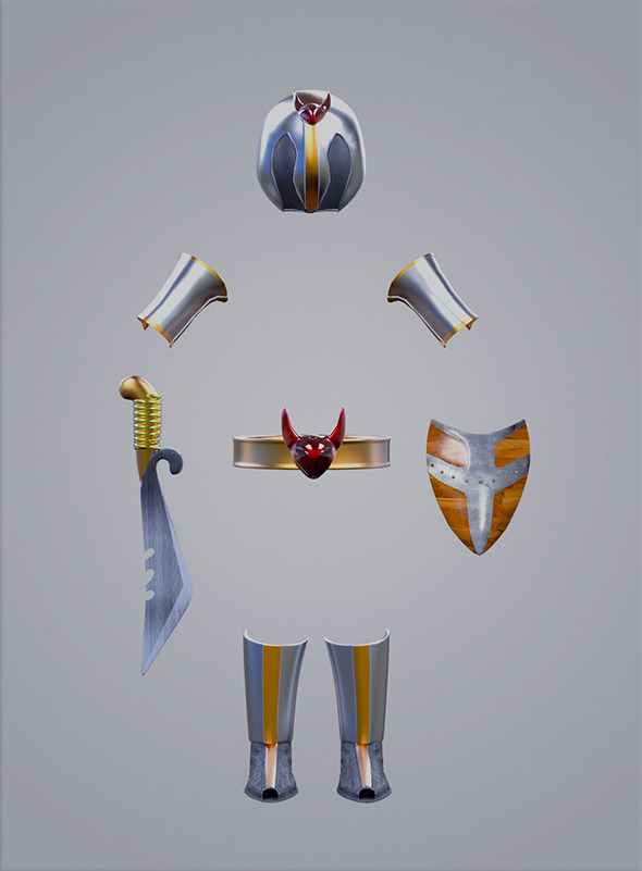 Low Poly Armor and weapon for games Pack - 3DOcean Item for Sale