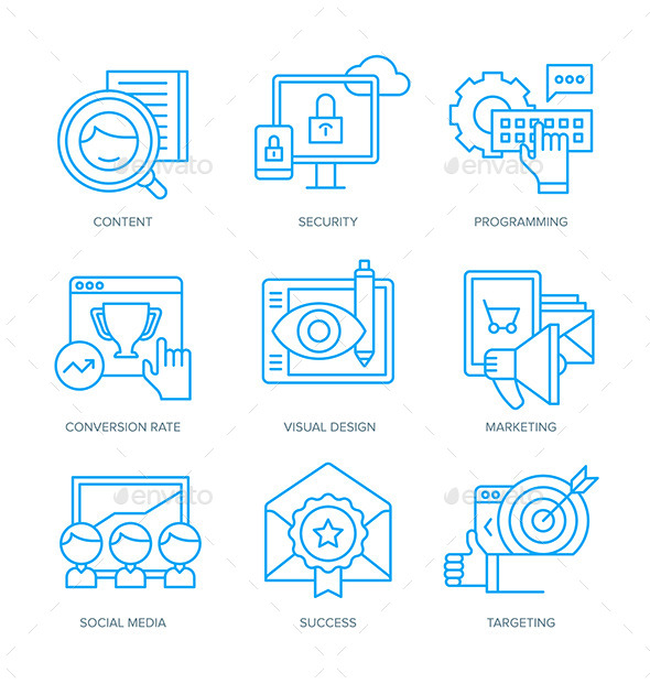 SEO and Digital Marketing Icons - Technology Icons