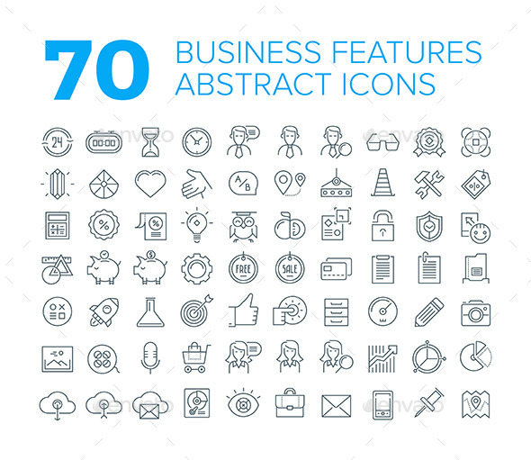 70 Thin Line Universal Business Icons - Business Icons